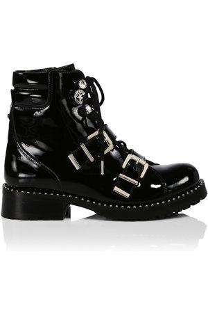 SOPHIA WEBSTER Women's Ziggy Crystal-Embellished Patent Leather Biker Boots - - Size 10.5