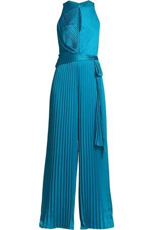 THEIA Women's Satin Pleated Keyhole Jumpsuit - Aqua - Size 4