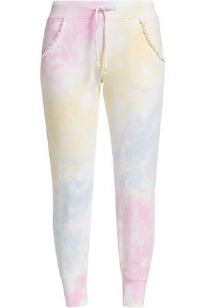 Generation Love Women's Kate Ruffle Tie-Dyed Sweatpants - Pastel Rainbow Tie Dye - Size Medium