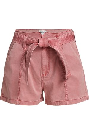 Paige Women's Anessa Belted Peak-Waistband Seamed Shorts - Vintage Soft Rose - Size 31
