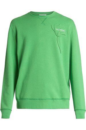 VALENTINO GARAVANI Men's Garden Flower Crewneck Sweatshirt - Verde - Size Medium