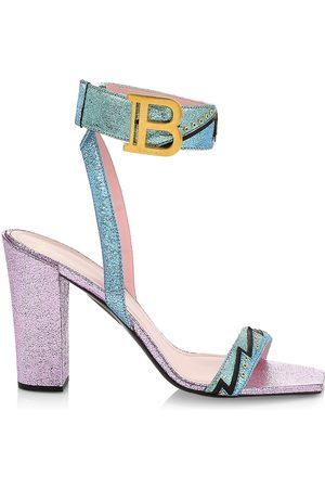 Balmain Women's Stella Stitched Metallized Block Heel Sandals - Size 11