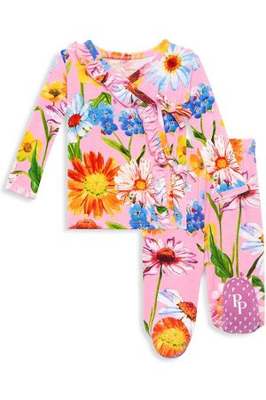 Posh Peanut Baby Girl's Kaileigh 2-Piece Tie Front Ruffled Kimono & Footed Jogger Set - - Size Newborn