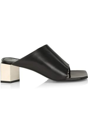 OFF-WHITE Women's Hexnut Leather Mule Sandals - - Size 10