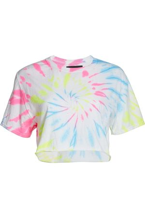 Myrrhe Women's Neon Tie-Dyed Cropped Tee - Cyclone - Size Small
