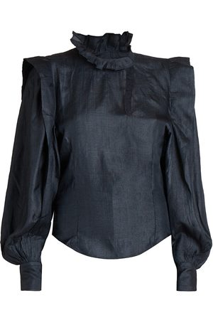 Isabel Marant Women's Chandra Long-Sleeve Cutout Silk Blouse - Faded - Size 0