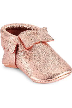 Freshly Picked Girls - Baby- Toddler Rose Bow Mocc - Mini Sole - Rose - Size 3 (Baby)