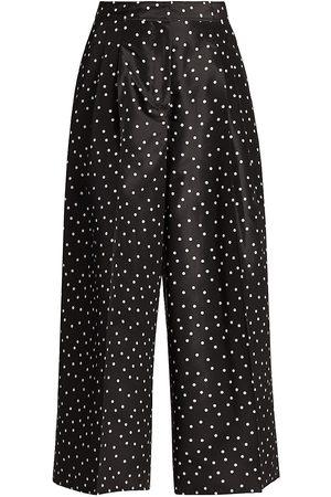 Carolina Herrera Women's Polka Dot Silk Wide-Leg Pants - Ivory - Size 4