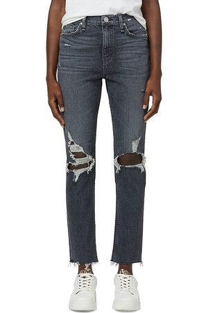 Hudson Women's Holly Distressed Straight Jeans - Cosmic Echoes - Size 32