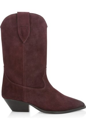 Isabel Marant Women's Duerto Western Suede Mid-Calf Boots - Burgundy - Size 6