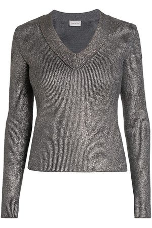 Moncler Women's Wool V Neck Sweater - Lurex - Size XS