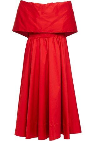 Oscar de la Renta Woman Off-the-shoulder Fluted Cotton-blend Twill Midi Dress Crimson Size 0