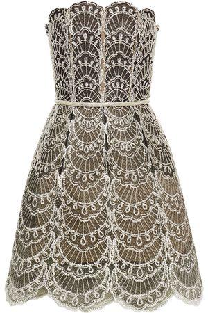 Oscar de la Renta Woman Strapless Embellished Tulle Mini Dress Size 6