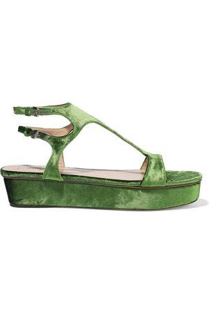 VALENTINO GARAVANI Woman Cutout Velvet Platform Sandals Leaf Size 37