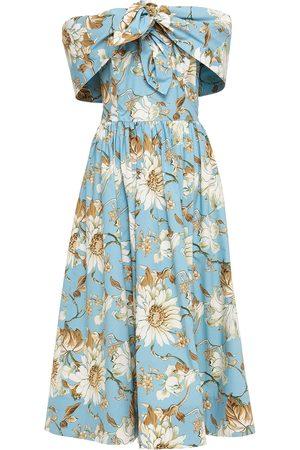 Oscar de la Renta Women Printed Dresses - Woman Off-the-shoulder Knotted Floral-print Cotton-blend Poplin Midi Dress Light Size 4