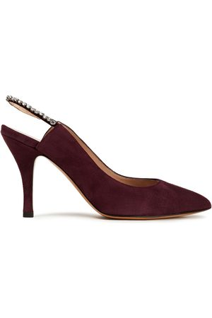VALENTINO GARAVANI Women Heeled Pumps - Woman Crystal-embellished Suede Slingback Pumps Grape Size 37