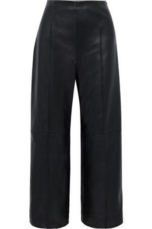 Oscar de la Renta Woman Cropped Leather Wide-leg Pants Size 12