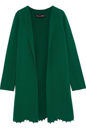 Oscar de la Renta Women Coats - Woman Bead-embellished Wool-blend Crepe Coat Forest Size 10