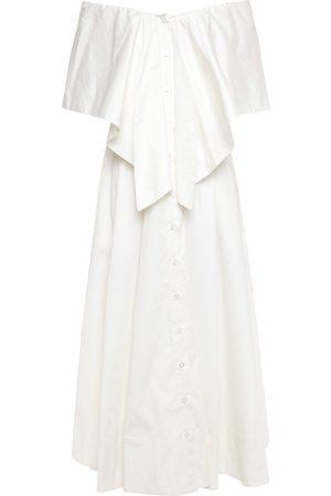 Oscar de la Renta Woman Off-the-shoulder Fluted Cotton-blend Twill Midi Dress Size 2