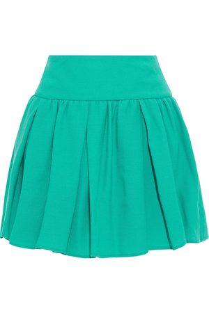 RED Valentino Women Mini Skirts - Woman Pleated Wool-crepe Mini Skirt Jade Size 40
