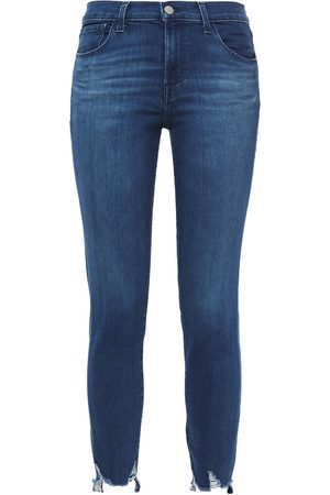 J Brand Woman 835 Cropped Distressed Mid-rise Skinny Jeans Mid Denim Size 26