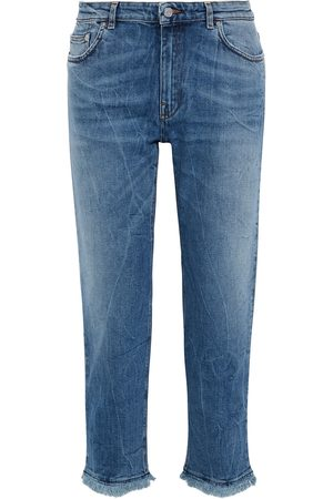 Acne Studios Woman Lit Cropped Distressed Mid-rise Straight-leg Jeans Mid Denim Size 23W-32L