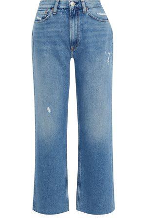 RAG&BONE Woman Ruth Distressed High-rise Straight-leg Jeans Light Denim Size 26