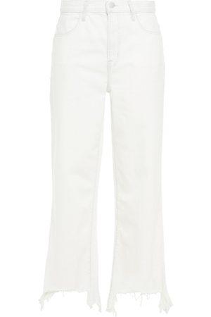 J Brand Woman Joan Cropped Distressed High-rise Wide-leg Jeans Ecru Size 26