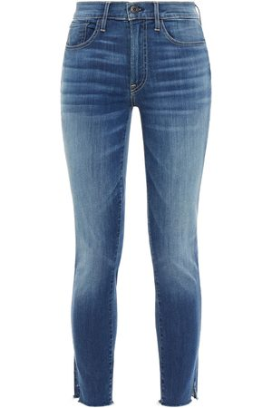 3x1 Woman Cropped Frayed Mid-rise Skinny Jeans Mid Denim Size 23