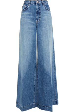 J Brand Woman Thelma Distressed High-rise Wide-leg Jeans Mid Denim Size 25
