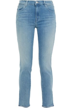 J Brand Woman 811 Cropped Faded Mid-rise Skinny Jeans Light Denim Size 25
