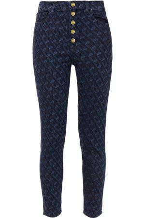 J Brand Woman Printed High-rise Skinny Jeans Dark Denim Size 24