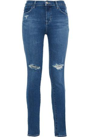 J Brand Woman Maria Distressed High-rise Skinny Jeans Mid Denim Size 25