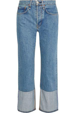 RAG&BONE Woman Maya Cropped Paneled High-rise Straight-leg Jeans Mid Denim Size 24