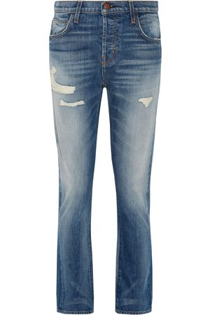 Current/Elliott Woman The Slouchy Cropped Distressed Jeans Mid Denim Size 24