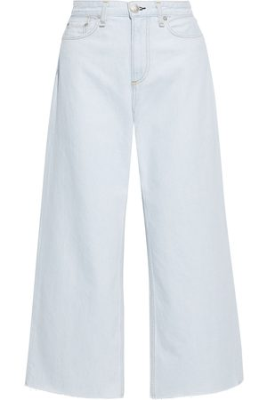 RAG&BONE Woman Ruth Frayed High-rise Wide-leg Jeans Light Denim Size 26
