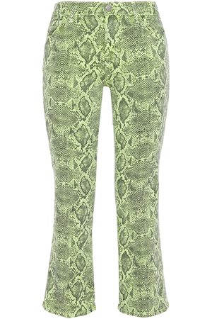 J Brand Woman Selena Cropped Coated Snake-print Mid-rise Bootcut Jeans Animal Print Size 26
