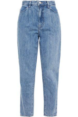 J Brand Woman Cropped Pleated High-rise Straight-leg Jeans Light Denim Size 27