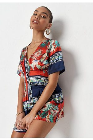 Missguided Tropical Print Button Down Romper