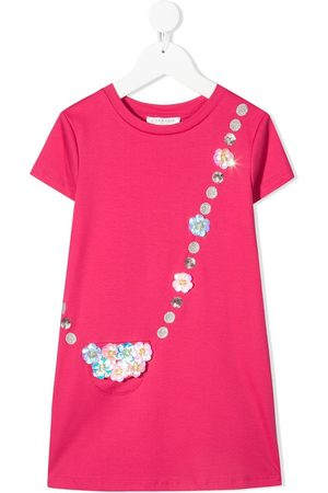 Charabia Floral-appliqué cotton T-shirt dress