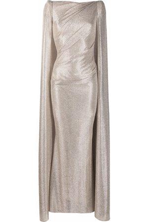 TALBOT RUNHOF Metallic-threaded cape dress