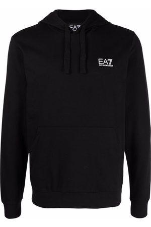 EA7 Logo-print cotton hoodie