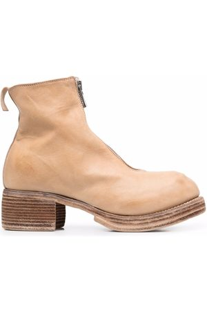 GUIDI Grained leather round-toe boots - Neutrals