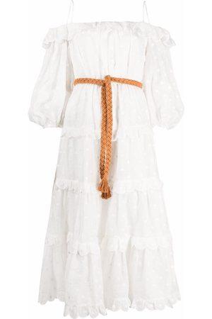 ZIMMERMANN Polka dot off-shoulder midi dress