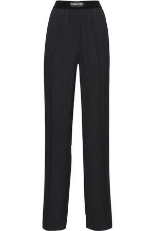 Tom Ford Logo Straight Leg Satin Pajama Pants