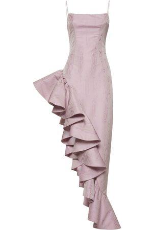 GIUSEPPE DI MORABITO Jacquard Ruffled Long Dress
