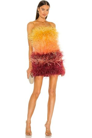 Bronx and Banco Sunset Feather Dress in Yellow, Burgendy.