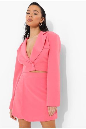 Boohoo Womens Wrap Front Cropped Tailored Blazer - - 4
