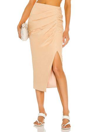 JONATHAN SIMKHAI Hayden Draped Linen Slit Midi Skirt in Tan.
