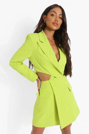 Boohoo Womens Twist Cut Out Pocket Detail Blazer Dress - - 4